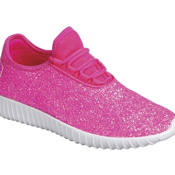 Womens Hot Pink Glitter Sneakers Shoes